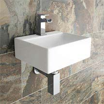 Cubetto Wall Hung Small Cloakroom Basin 1TH - 330 x 290mm Medium Image