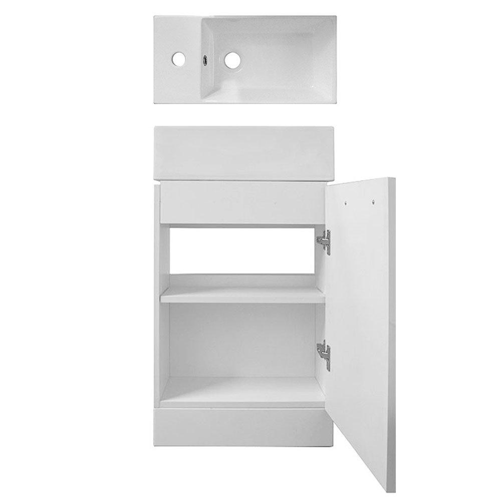 Cubix High Gloss White Vanity Unit inc Ceramic Basin W480 x D230mm - VTY058 Profile Large Image
