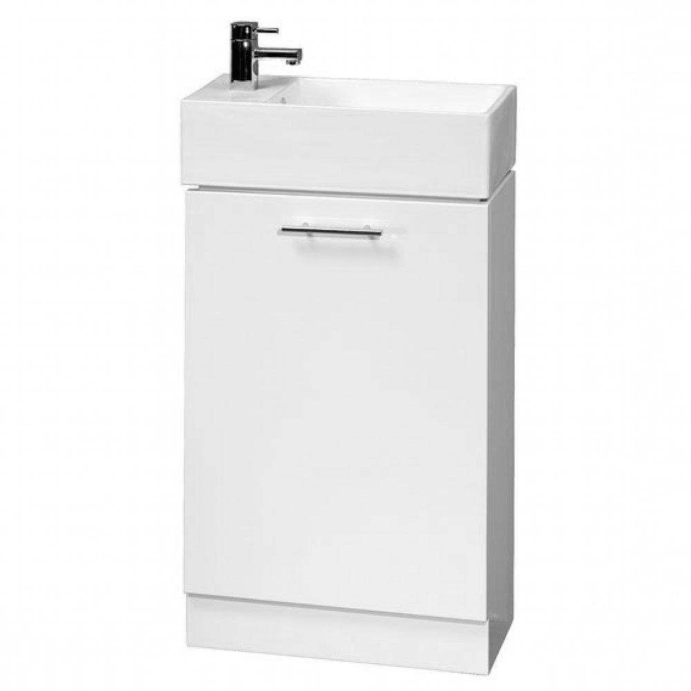 Cubix High Gloss White Vanity Unit inc Ceramic Basin W480 x D230mm - VTY058 Large Image