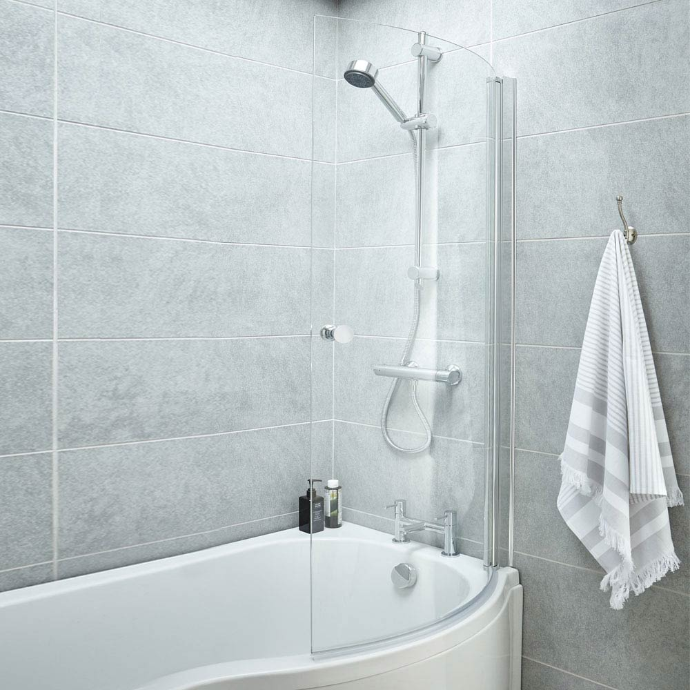 Curved Screen with Knob for P-Shaped Baths NCS3 Large Image