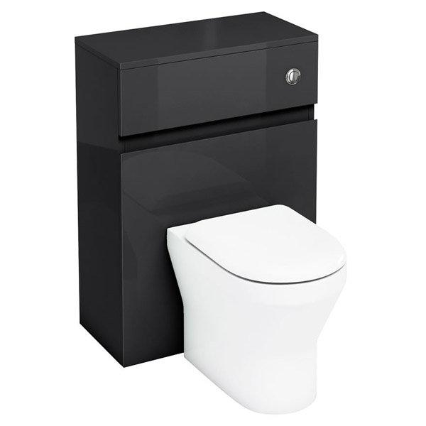 Aqua Cabinets - W600 x D300mm BTW Unit with pan, cistern & flush button - Black Large Image
