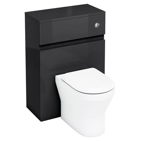 Aqua Cabinets - W600 x D300mm BTW Unit with pan, cistern & flush button - Black