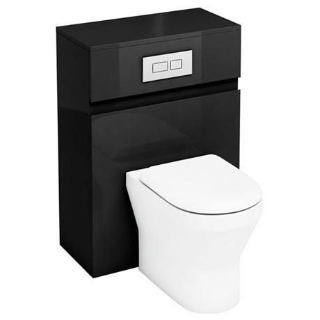 Aqua Cabinets - W600 x D300mm BTW Unit with pan, cistern & flush plate - Black