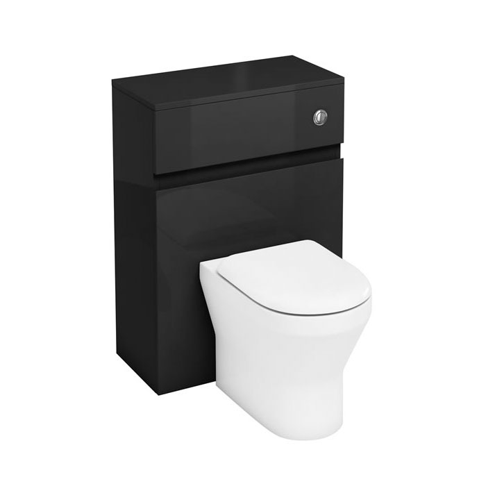 Aqua Cabinets - W600 x D300mm BTW Unit with pan, cistern & flush button - Anthracite Grey Large Image