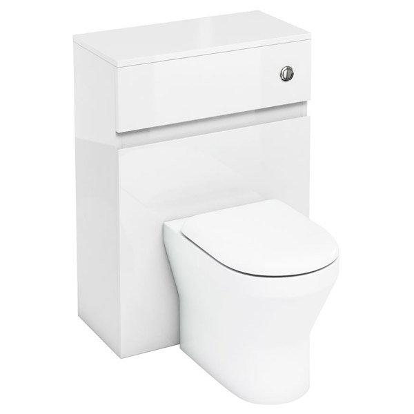 Aqua Cabinets - W600 x D300mm BTW Unit with pan, cistern & flush button - White Large Image