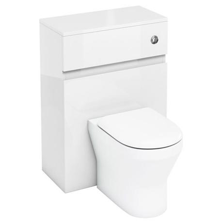 Aqua Cabinets - W600 x D300mm BTW Unit with pan, cistern & flush button - White