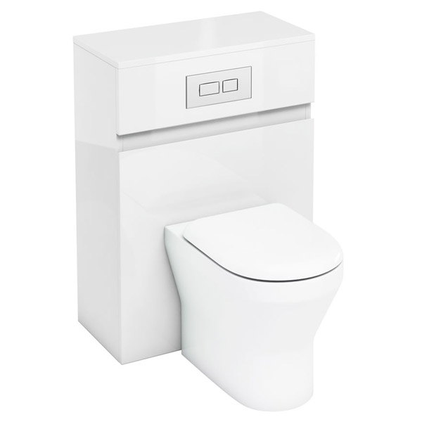 Aqua Cabinets - W600 x D300mm BTW Unit with pan, cistern & flush plate - White Large Image