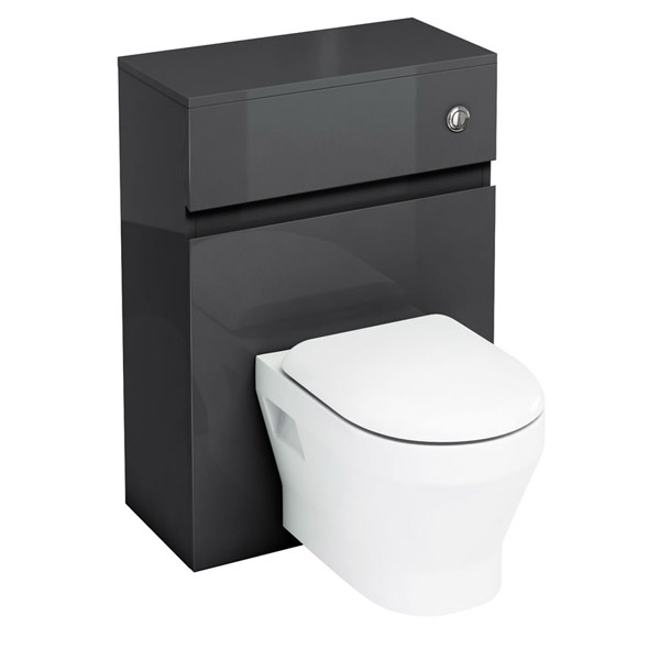 Aqua Cabinets - W600 x D300mm Wall Hung WC Unit with pan, cistern & flush button - Black Large Image
