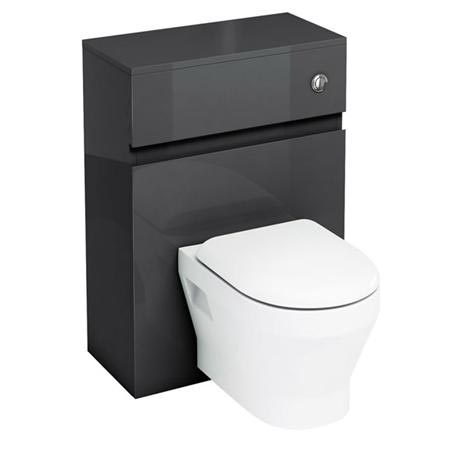 Aqua Cabinets - W600 x D300mm Wall Hung WC Unit with pan, cistern & flush button - Black