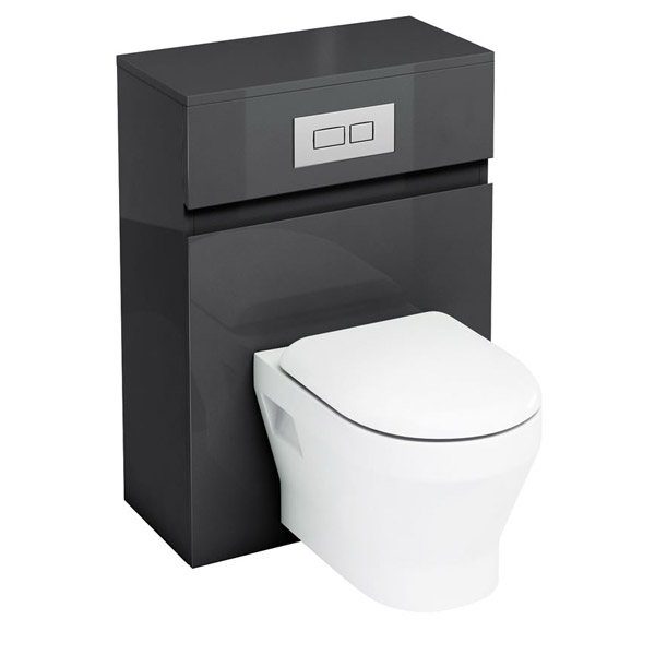 Aqua Cabinets - W600 x D300mm Wall Hung WC Unit with pan, cistern & flush plate - Black Large Image