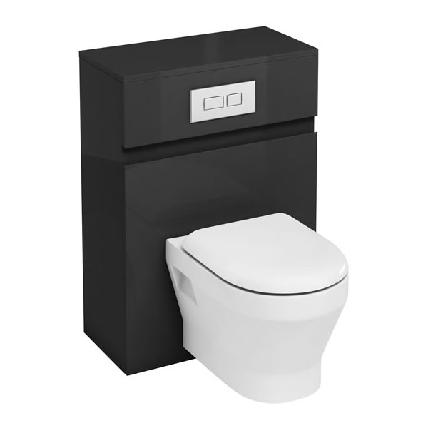 Aqua Cabinets - W600 x D300mm Wall Hung WC Unit with pan, cistern & flush plate - Anthracite Grey Large Image