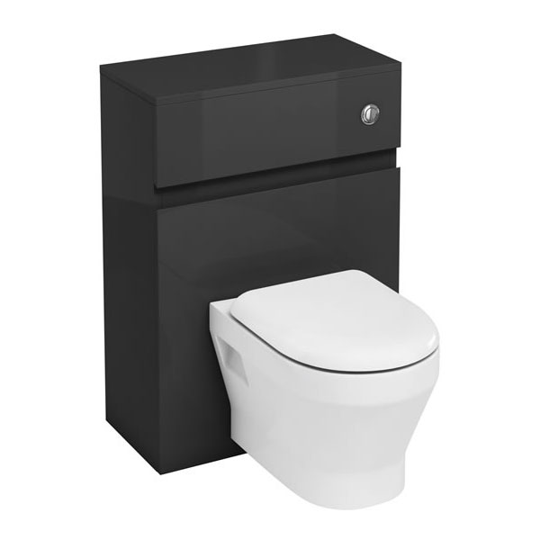 Aqua Cabinets - W600 x D300mm Wall Hung WC Unit with pan, cistern & flush button - Anthracite Grey Large Image
