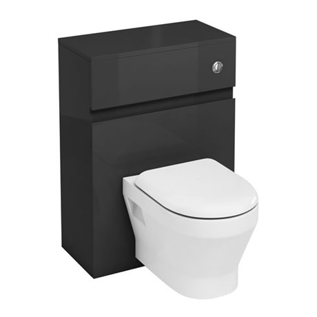Aqua Cabinets - W600 x D300mm Wall Hung WC Unit with pan, cistern & flush button - Anthracite Grey