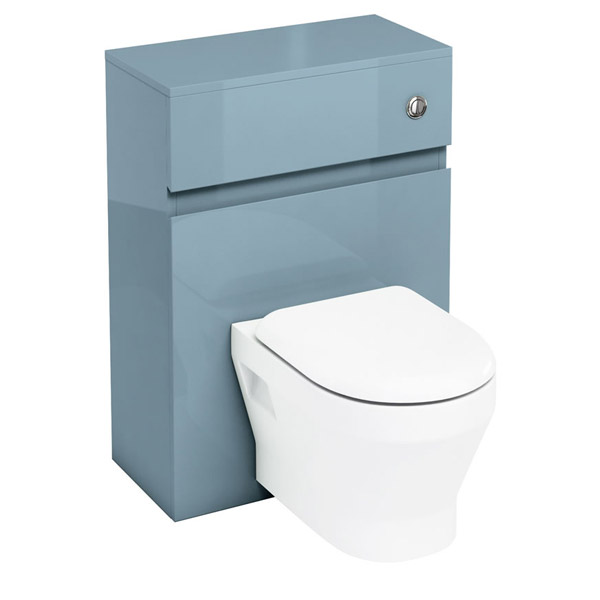 Aqua Cabinets - W600 x D300mm Wall Hung WC Unit with pan, cistern & flush button - Ocean Large Image