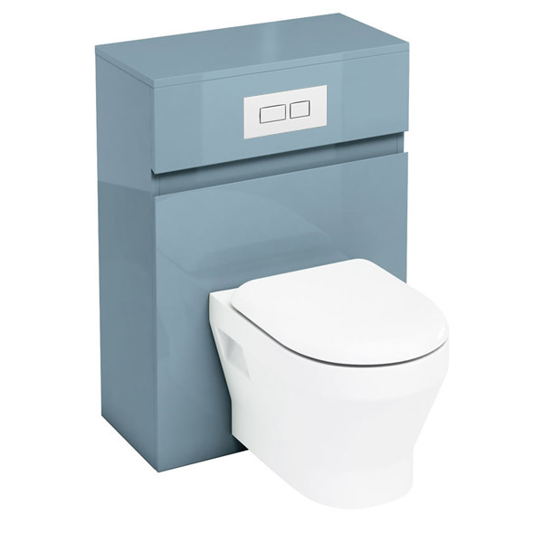 Aqua Cabinets - W600 x D300mm Wall Hung WC Unit with pan, cistern & flush plate - Ocean profile large image view 1