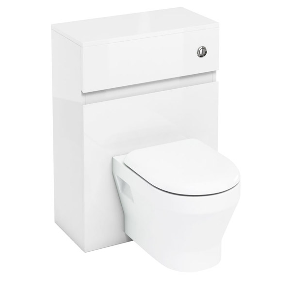 Aqua Cabinets - W600 x D300mm Wall Hung WC Unit with pan, cistern & flush button - White Large Image