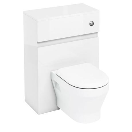 Aqua Cabinets - W600 x D300mm Wall Hung WC Unit with pan, cistern & flush button - White