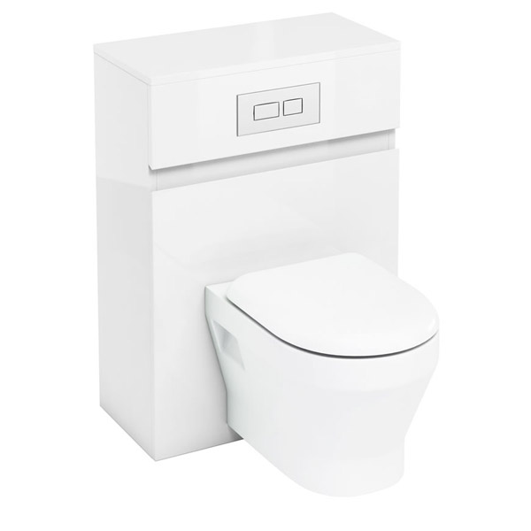 Aqua Cabinets - W600 x D300mm Wall Hung WC Unit with pan, cistern & flush plate - White Large Image