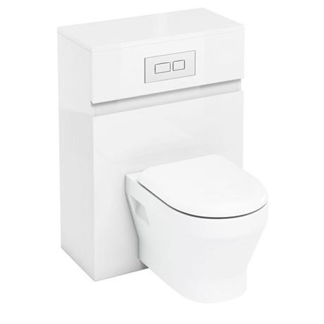 Aqua Cabinets - W600 x D300mm Wall Hung WC Unit with pan, cistern & flush plate - White