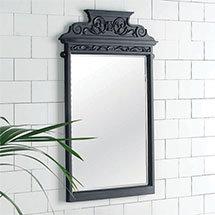 Victrion Traditional Black Aluminium Mirror Medium Image