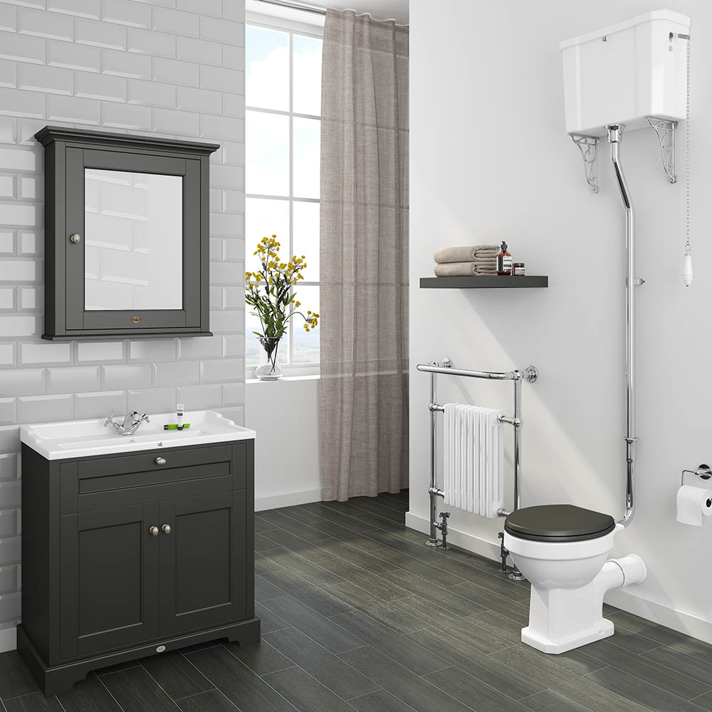 Downton Abbey Traditional 9mm Charcoal Sink Vanity Unit + High