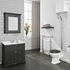 Downton Abbey Traditional 800mm Charcoal Sink Vanity Unit + High Level Toilet profile small image view 1