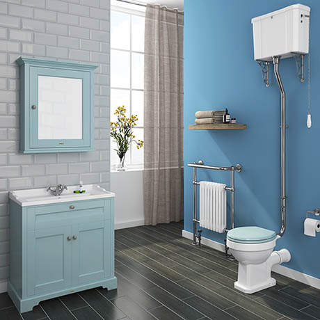 Downton Abbey Traditional 800mm Duck Egg Blue Sink Vanity Unit + High Level Toilet