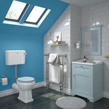 Downton Abbey Traditional Duck Egg Blue Sink Vanity Unit + Low Level Toilet Medium Image