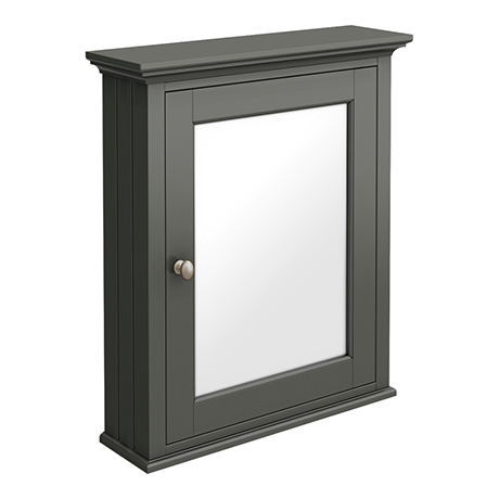 Old London Traditional Mirror Cabinet (650mm Wide - Charcoal)