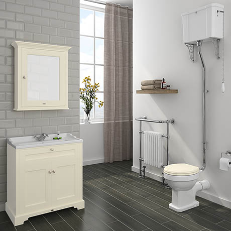 Downton Abbey Traditional 800mm Ivory Sink Vanity Unit + High Level Toilet