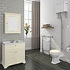 Downton Abbey Traditional 800mm Ivory Sink Vanity Unit + High Level Toilet profile small image view 1