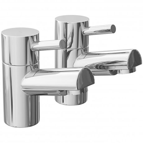 Dalton Contemporary Bath Pillar Taps - Chrome