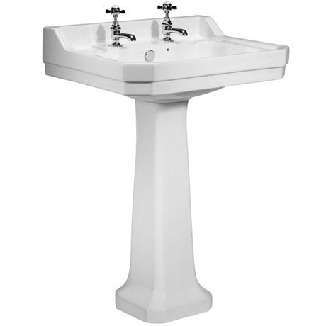 Tavistock Vitoria 605mm Ceramic Basin & Pedestal - 2 Tap Hole