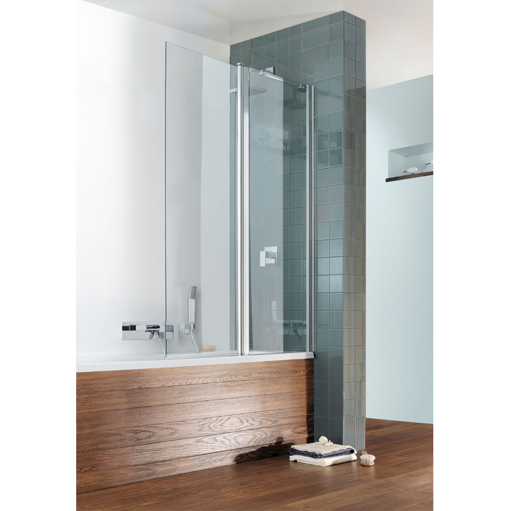 Simpsons - Design Semi-Frameless Outward Opening Double Bath Screen - 1060mm Large Image