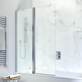 Crosswater Design Semi-Frameless Outward Opening Double Bath Screen - 1060mm