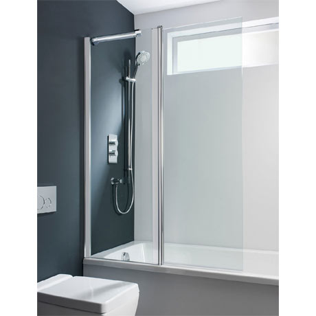 Simpsons Design Semi-Frameless Outward Opening Double Bath Screen - 1060mm