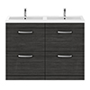 Brooklyn 1205mm Hacienda Black Double Basin 4 Drawer Vanity Unit profile small image view 1