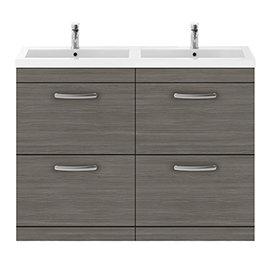 Brooklyn 1205mm Grey Avola Double Basin 4 Drawer Vanity Unit