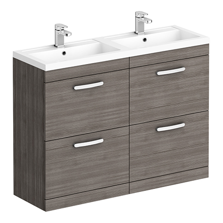 Brooklyn 1205mm Grey Avola Double Basin 4 Drawer Vanity Unit