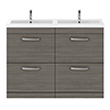Brooklyn 1205mm Grey Avola Double Basin 4 Drawer Vanity Unit profile small image view 1
