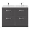 Brooklyn 1205mm Gloss Grey Double Basin 4 Drawer Vanity Unit profile small image view 1