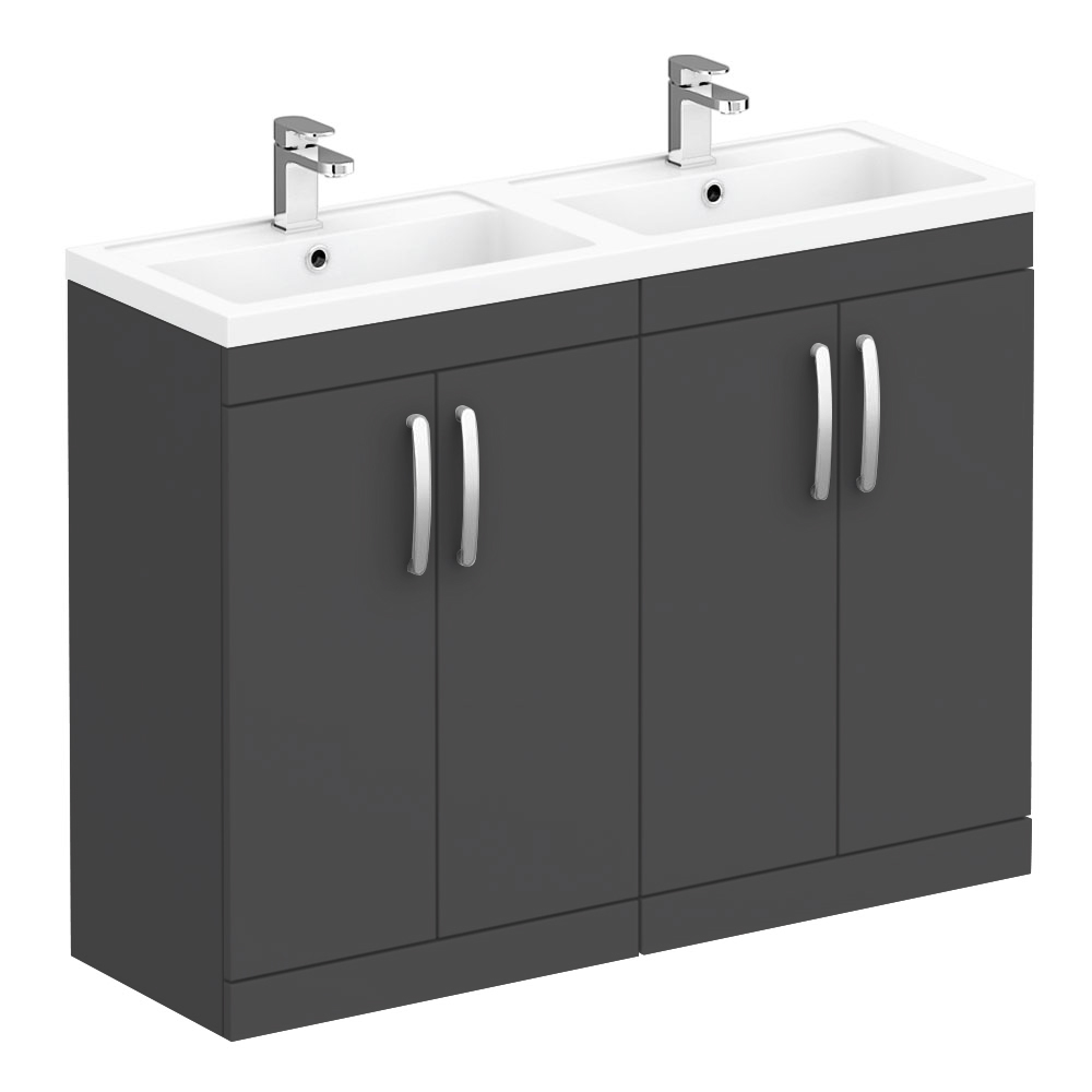 Brooklyn 1205mm Gloss Grey Double Basin Vanity Unit