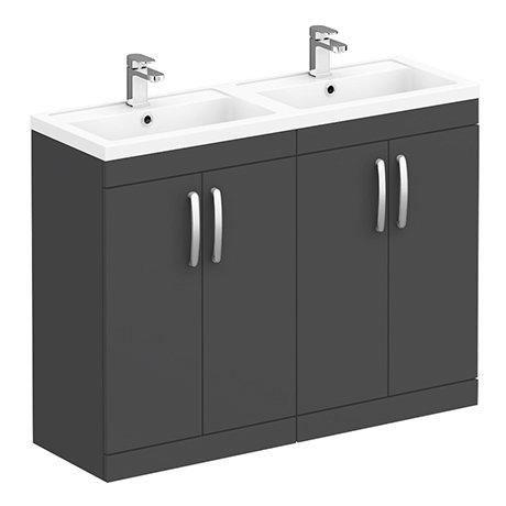 Brooklyn 1205mm Gloss Grey Double Basin Vanity Unit