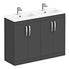 Brooklyn 1205mm Gloss Grey Double Basin Vanity Unit profile small image view 1