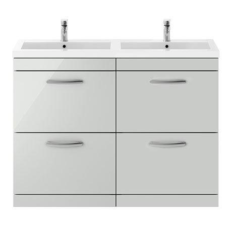 Brooklyn 1205mm Grey Mist Double Basin 4 Drawer Vanity Unit