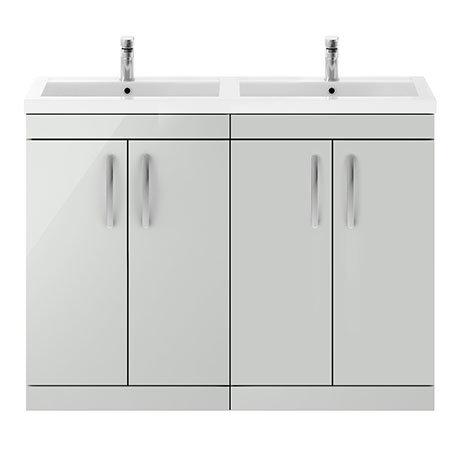 Brooklyn 1205mm Gloss Grey Mist Double Basin 4 Door Vanity Unit