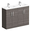 Brooklyn 1205mm Grey Avola Double Basin Vanity Unit profile small image view 1