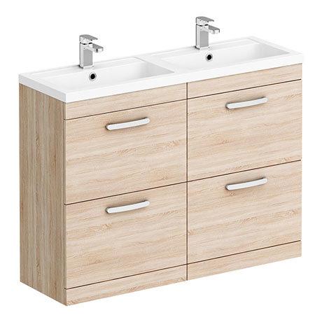 Brooklyn 1205mm Natural Oak Double Basin 4 Drawer Vanity Unit