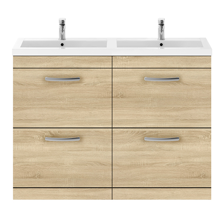 Brooklyn 1205mm Natural Oak Double Basin 4-Drawer Vanity Unit