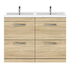 Brooklyn 1205mm Natural Oak Double Basin 4 Drawer Vanity Unit profile small image view 1